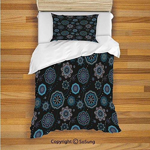 SoSung Dark Blue Kids Duvet Cover Set Twin Size, Decorative Snowflakes Ethnic Kaleidoscopic Asian Mandala Lace Like Circle Fashion 2 Piece Bedding Set with 1 Pillow Sham,Multicolor ()