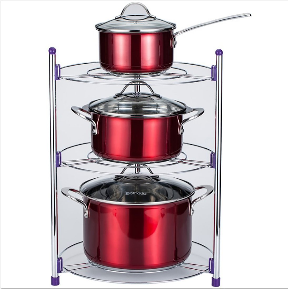 EZ Breezy Home Stainless Steel 3 Rack Pan and Pot Shelf Storage Tower. Instant Shelves for Storage of Instapot, Crock Pot, Stock Pot, Dish Pan, Cast Iron Skillet, Lids and More. Includes 5 S Hooks