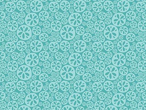 Camelot Fabrics Sand Dollars Sea Life Quilting Fabric Turquoise - per fat quarter