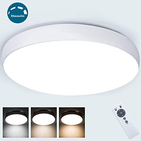 Dimmable Led Ceiling Light Fixture with Remote 40W, Airand ...