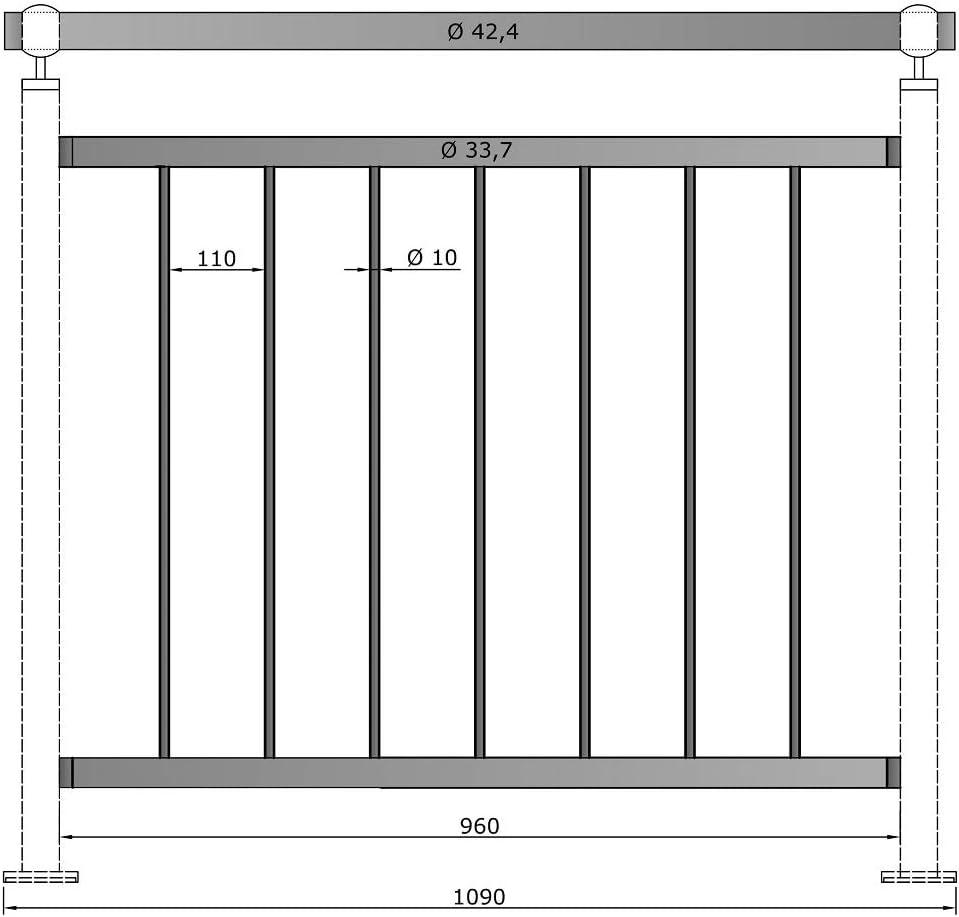Gel/änder senkrechte Streben Balkon Terrasse Br/üstung 1090 mm 900 mm