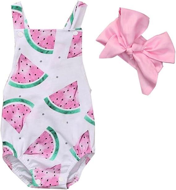 Summer Newborn Baby Girls Watermelon Romper Bodysuit Jumpsuit Outfits Clothes UK