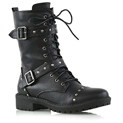 b3d914cc3 Amazon.com   ESSEX GLAM Womens Mid Calf Black Synthetic Leather Biker Boots  Ladies Lace Up Studded Military Shoes 5 B(M) US   Mid-Calf