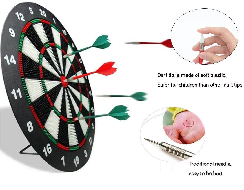 HagieNu Safety Soft Tip Dart Board Game Set Darts Game Dart Board Set No  Harm to Kids- 17 Inch Rubber Dart Board with 6 Soft Tip Darts for Kids and