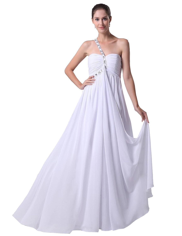 Dresstells Damen Abendkleider Chiffon Hochzeitskleid Ein-Träger DT90073