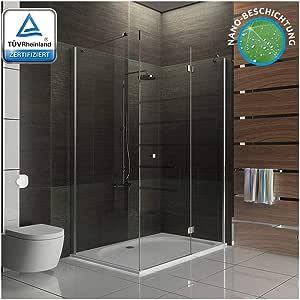 Mampara de ducha esquina ducha de cristal de alta calidad para ducha con - mampara de vidrio templado-vidrio Glasdveredelung 120 x 100 x 195: Amazon.es: Bricolaje y ...