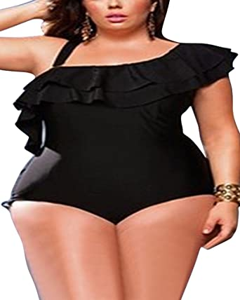 Womens Plus Size Swimwear Monokini One Shoulder Swimsuit Ruffle