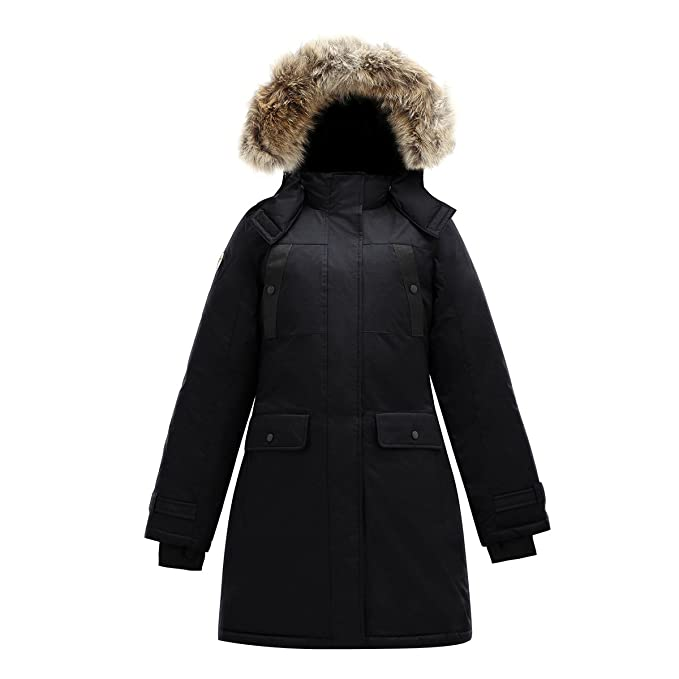 157158424 Triple FAT Goose SAGA Collection   Astraea Womens Hooded Goose Down Jacket  Parka with Real Coyote Fur