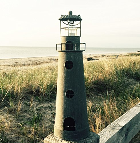 The Rustic Cape Cod Style Americana Lighthouse Tea Light holder, 21 ½ Inches Tall, By Whole House Worlds