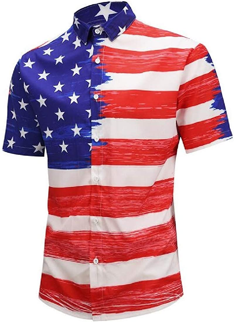 Sweatwater Mens Button Down Casual Short Sleeve July 4th American Flag Shirts