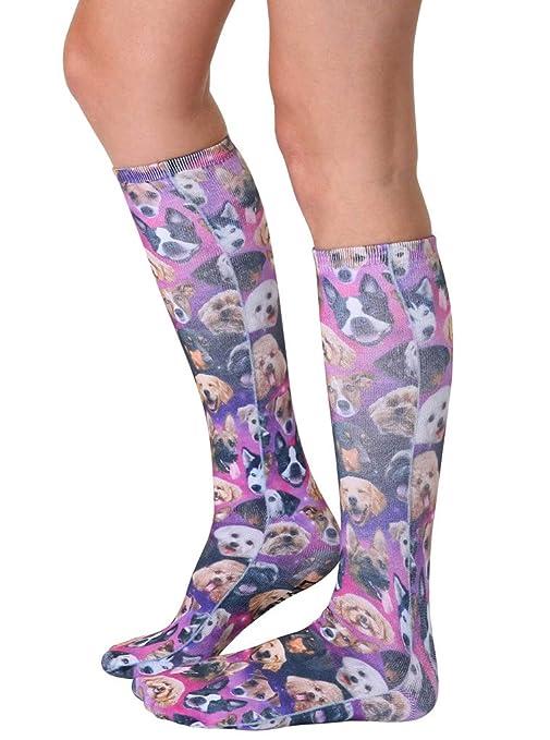 293f105f5 Amazon.com  Living Royal Photo Print Knee High Socks  Galaxy Puppy  Clothing