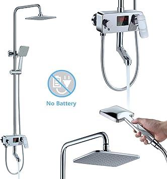 "10/""Chrome Ultra-thin Rain Bath Tub Shower System W//LED Temperature Display Valve"