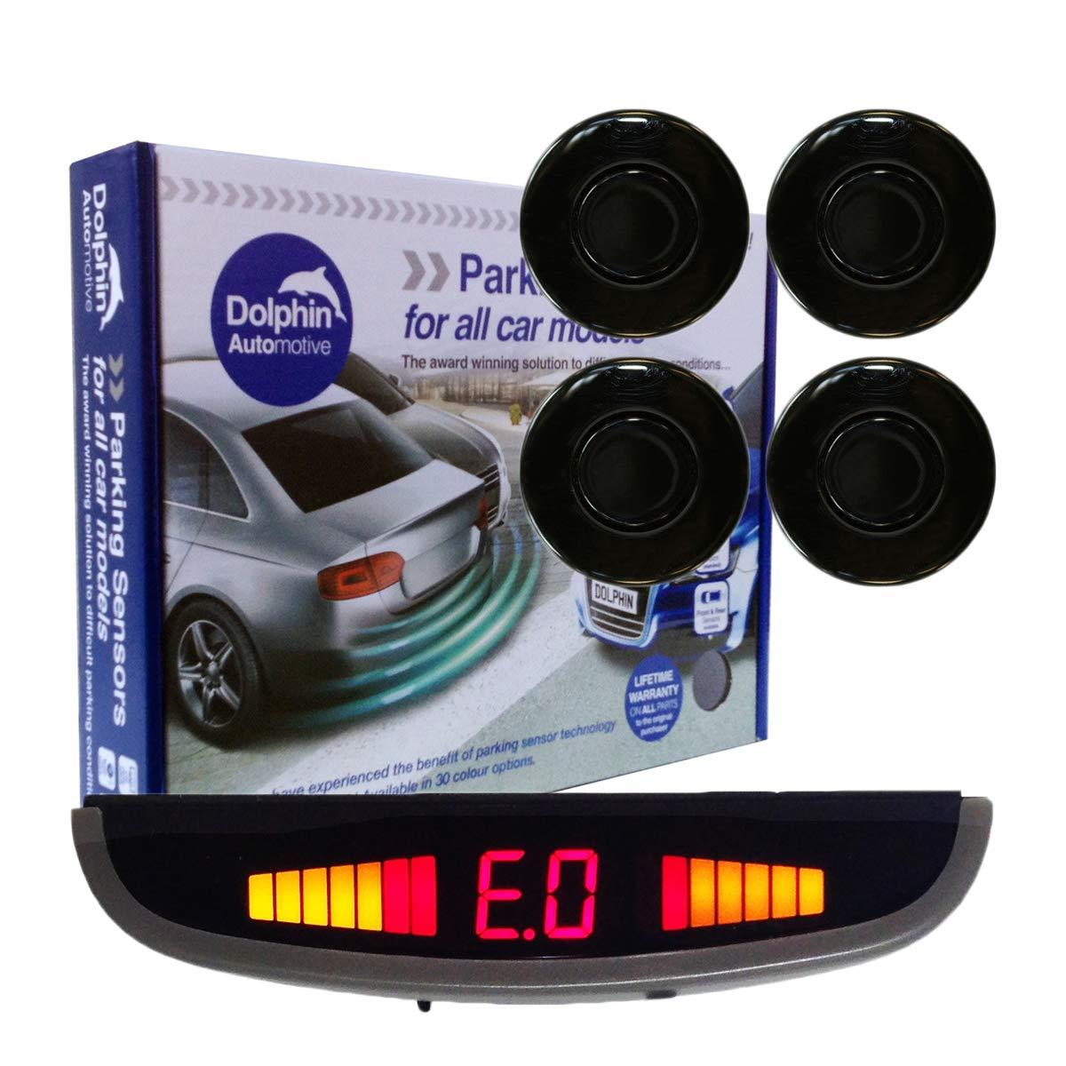 Dolphin DPS455 Reverse Parking Sensors In 32 Colours 4 Ultrasonic Radar Sensors Kit Audio /& Rear Roof Mounted Display Alert System Matt /& Gloss Black 30 More Colours Champagne