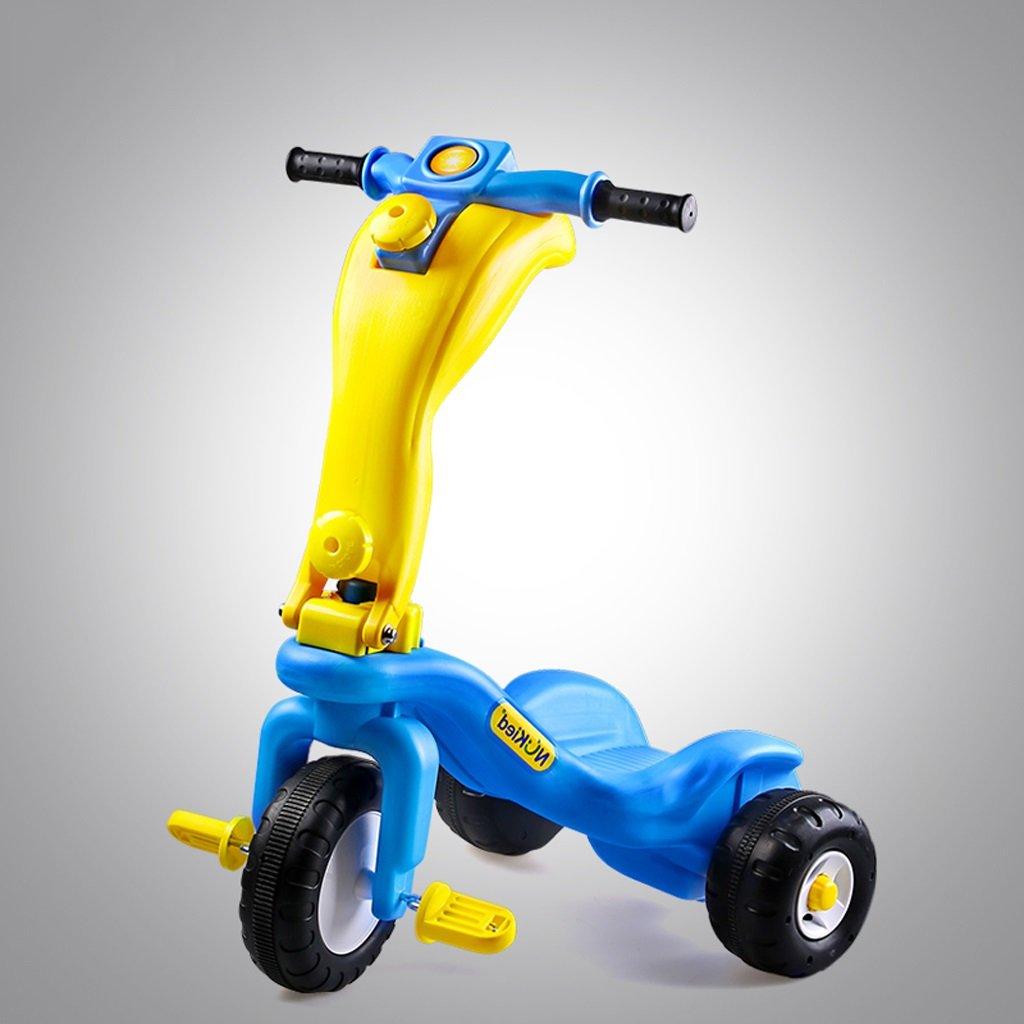子供の三輪車スチールチューブスクーターベビーバイク2-7歳のベビーカーのコンボバイク、青/赤、61 * 51 * 78センチメートル (Color : Blue) B07CT7Z1DD