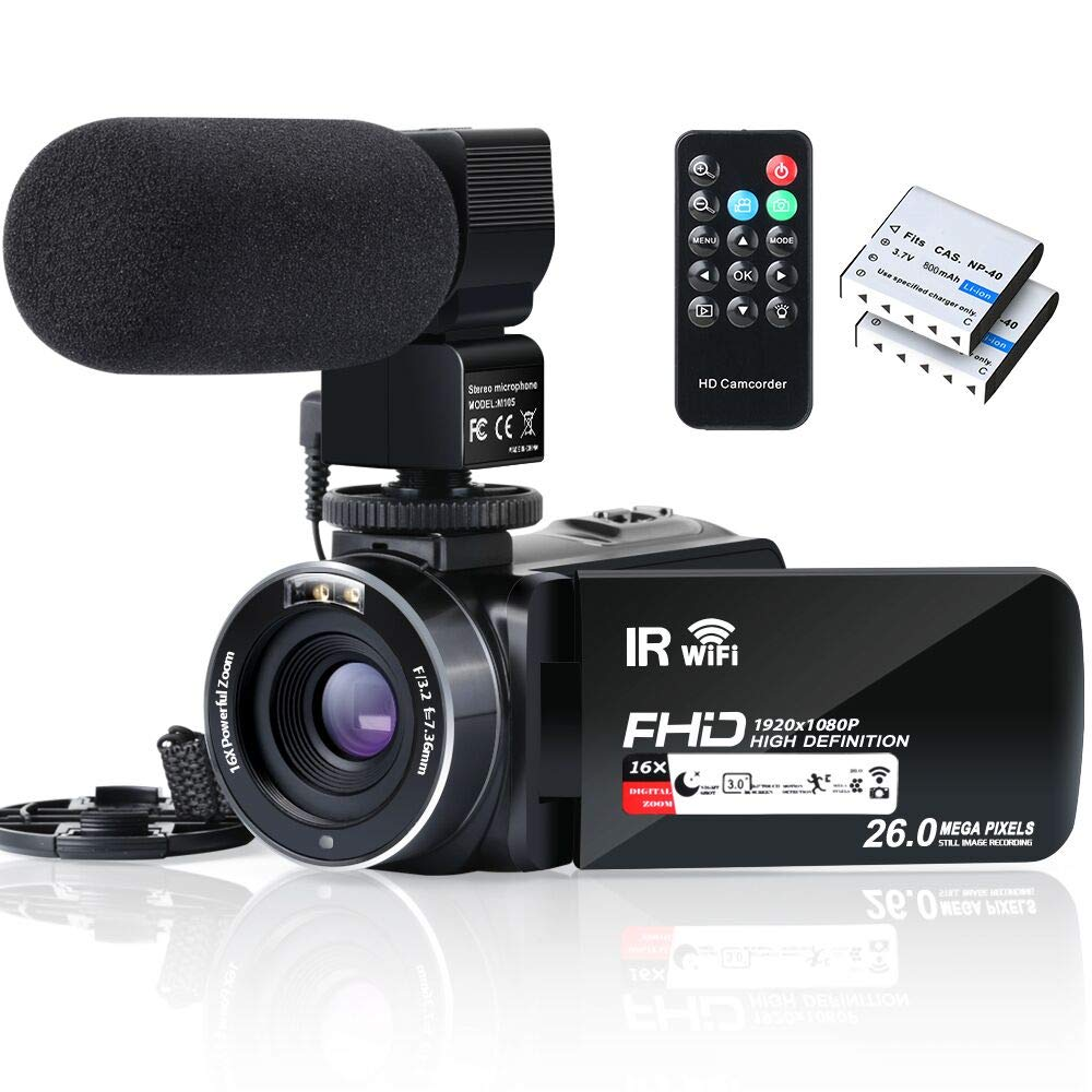 Video Camera Camcorder WiFi FHD 1080P 30FPS YouTube Vlogging Camera Recorder 26MP 3.0 inch Touch Screen 16X Digital Zoom IR Night Vision Camcorder with Remote,Microphone,and 2 Batteries by ALSONE