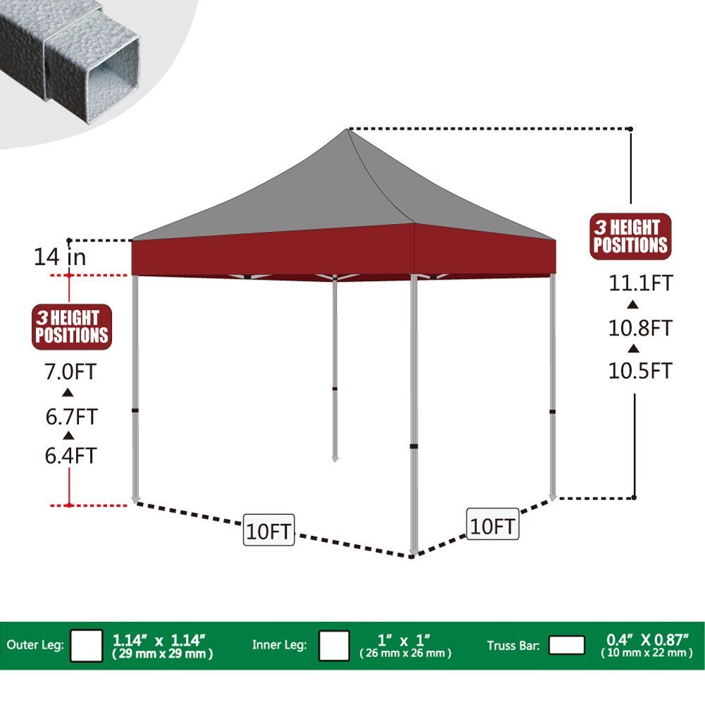 Eurmax 10 x10 Ez Pop Up Canopy Tent Commercial Shelter Heavy Duty Roller Bag,Bonus 4 Sand Weights Bags Striped Red