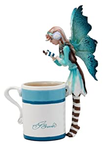 Ebros Gift Amy Brown Whimsical Teacup Creamy Hot Cocoa Fairy Figurine Fantasy Mythical Faery Magic Watercolor Collectible Decor Statue Gift Ideas for Women Teen Girls Fairy Garden DIY Art Centerpiece
