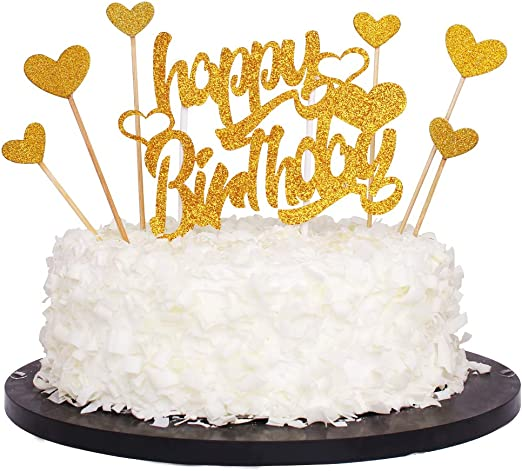 Phenomenal Amazon Com Glod Glitter Letters Happy Birthday Cake Toppers And Funny Birthday Cards Online Inifofree Goldxyz