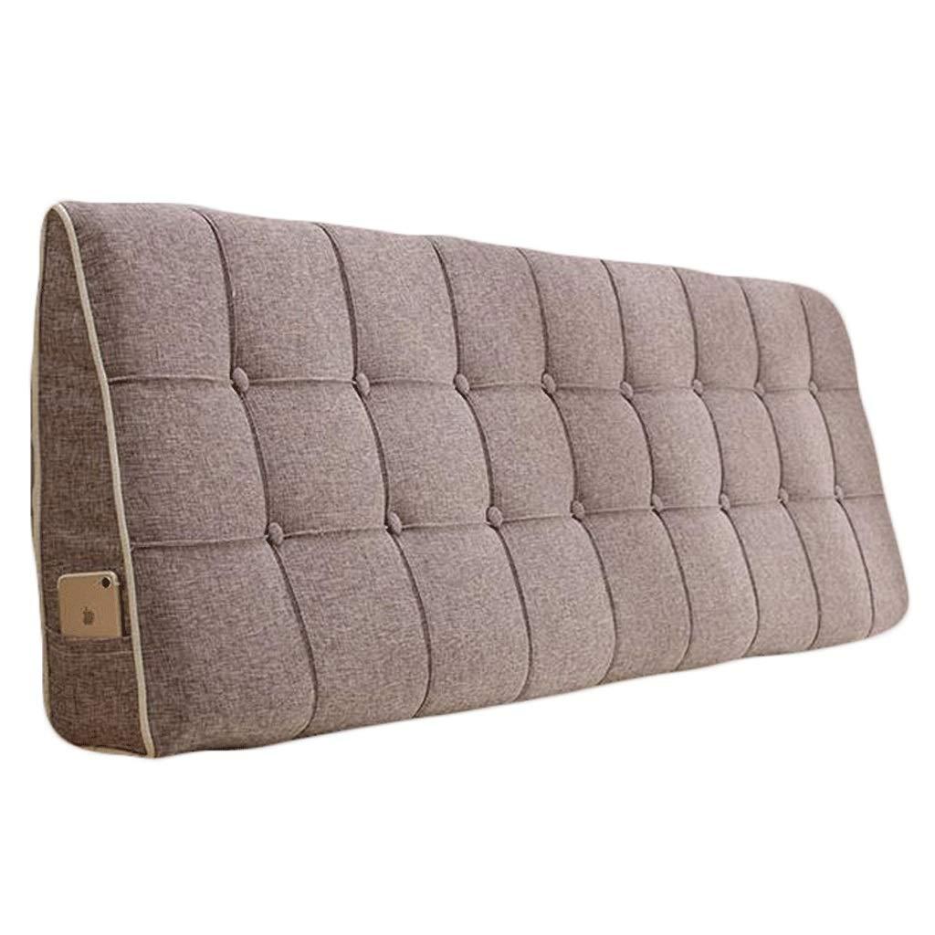 ベッドサイド クッション ベッドの背もたれ 三角ウェッジ枕のベッド背もたれのクッションヘッドボードのソファーの枕ソファの布張りの腰のヘッドレストのリネン、多機能、複数のサイズ、3色 (色 : Brown, サイズ さいず : 160X50CM) B07QPY8SN4 Brown 160X50CM