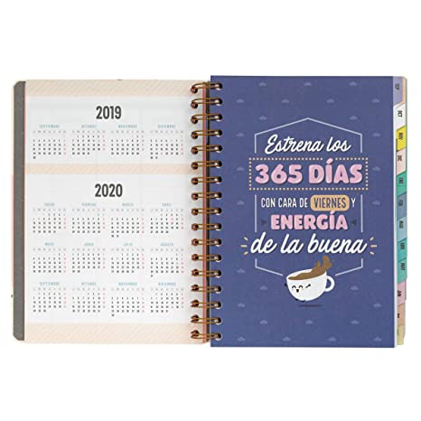 Classic Large 2019-2020 Day Per Page Spiral Binding Diary