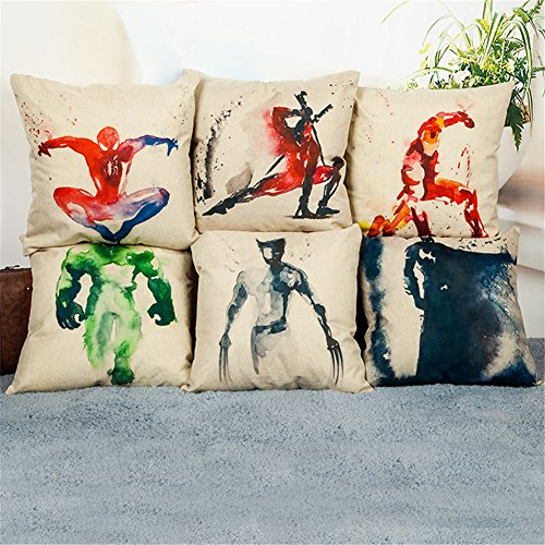 WeSurprise Set of 6 Cute 18X18 Inches Cotton Linen Superhero Throw Pillow Case Personalized Cushion Cover New Home Office Indoor Decorative Square Bolster for Birthday, Festival Gift (Superhero)