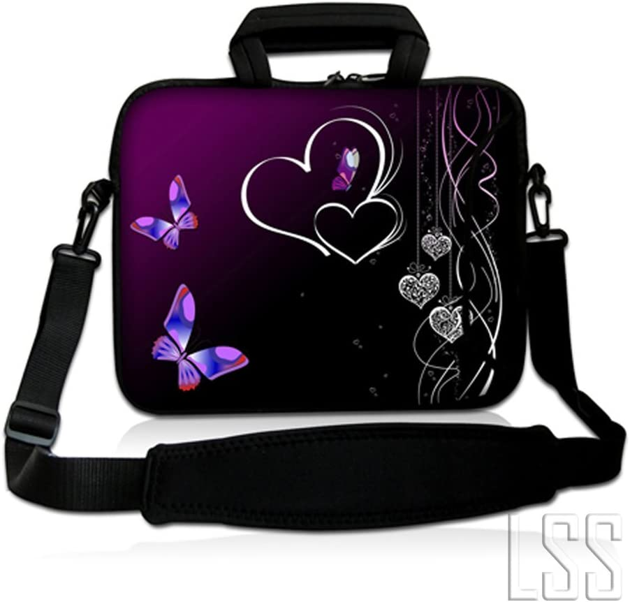 LSS 13.3 inch Laptop Sleeve Bag Compatible with Acer, Asus, Dell, HP, Sony, MacBook and More | Carrying Case Pouch w/Handle & Adjustable Shoulder Strap,Butterfly Heart Floral