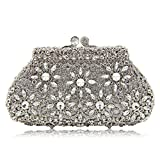Milisente Women Evening Bag Flower Crystal Wedding Clutch Purse (Silver)