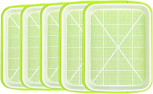 Ymeibe Seed Sprouter Tray BPA Free Seed Germination Nursery Tray with Drain Holes for Planting Seedlings, Great for Home Garden Office - 5 Pack (Green)