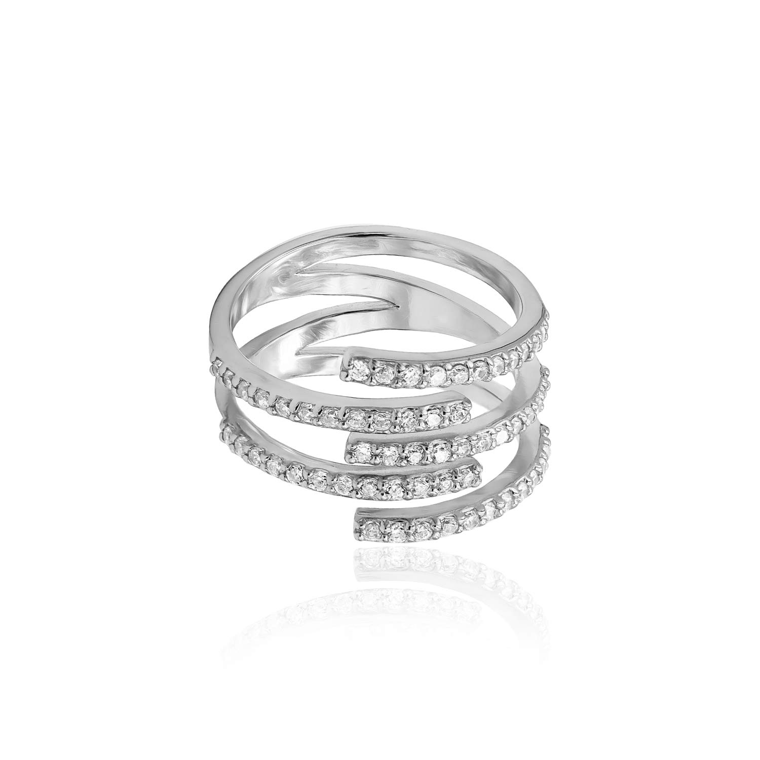 Sterling Silver CZ Cubic Zirconia Spiral Statement Ring, Size 7