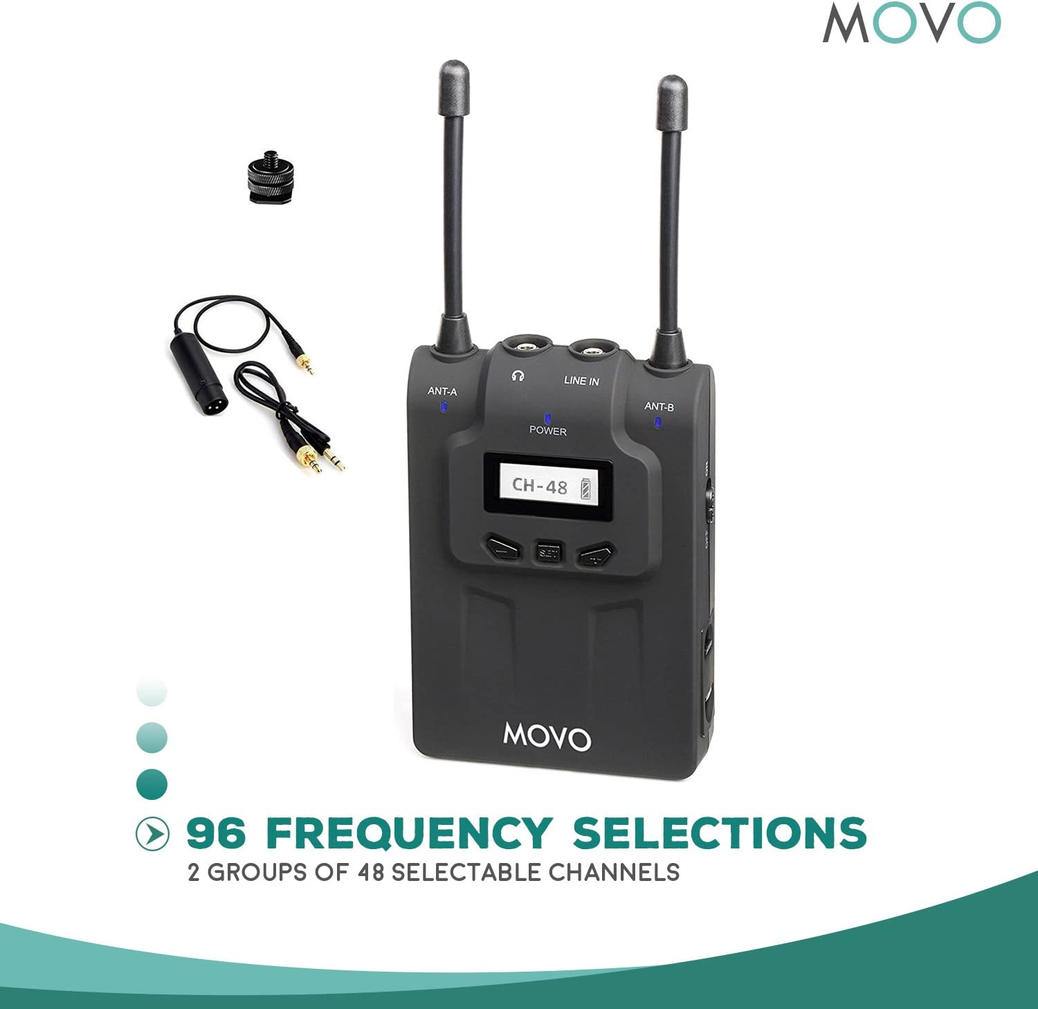 Movo WMIC80 UHF Wireless XLR Microphone System with 2 Plug-in XLR Transmitters Portable Receiver 330 Range Shoe Mount for DSLR Cameras