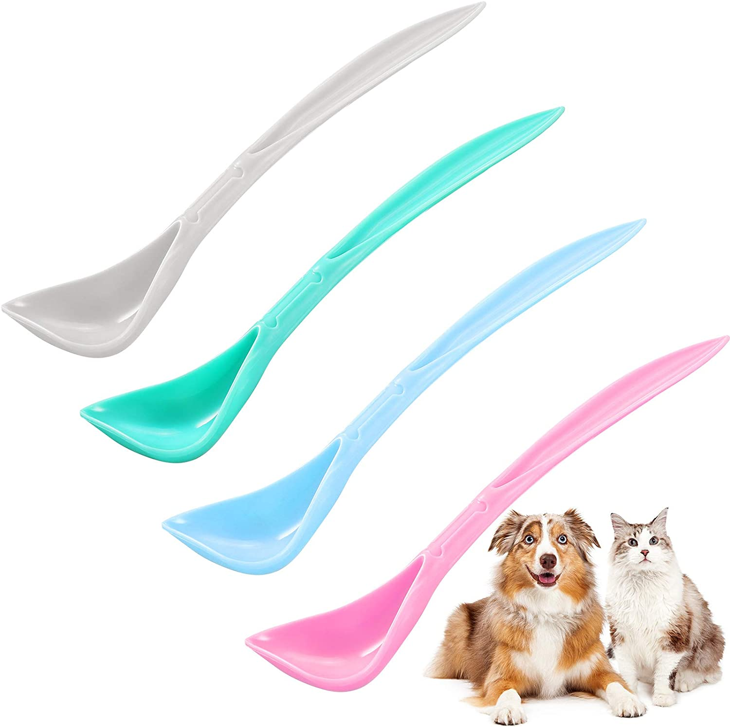 4 Pieces Pet Food Can Spoons Dog Cat Can Spoons Long Handle Dog Can Spoons Plastic Curved Design Pet Food Mixing Spoons