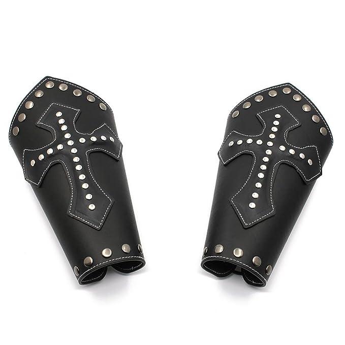 One Size Medieval Cross Bracers Black//Brown HZMAN Faux Leather Arm Guards