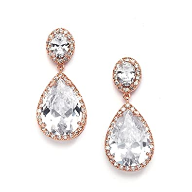 Mariell 14k Rose Gold Clip On Cz Wedding Earrings With Oval Cut Halos And Bold