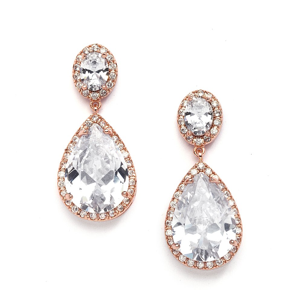 Mariell Rose Gold CZ Bridal Earrings with Oval-Cut Halo Tops and Bold Pear-Shaped Teardrop Dangles