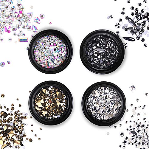Kalolary 4 Colors Professional Nail Art Rhinestones Nail 3D Bead Stone Shining Crystal Round & Multi-Shape AB Glass Rhinestone for Nail Gems Decorations Supplies