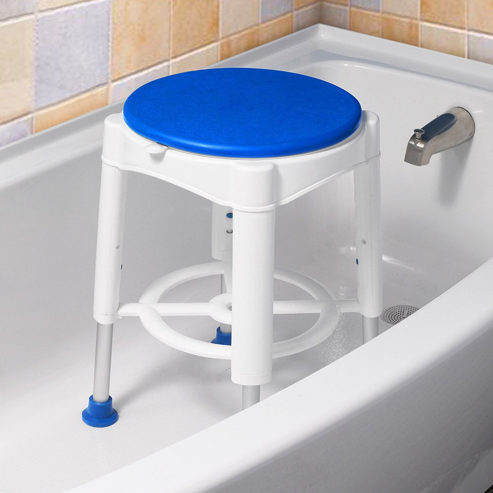 AW 14'' Adjustable Medical Bath Stool Bathroom Safety Shower Stool Swivel Chair with Rotating Seat Aluminum by AW (Image #7)