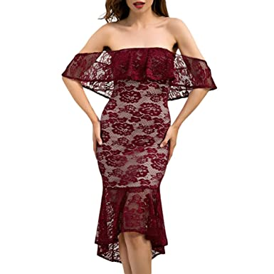 4c9f7cf66ab RoseGal Women Sexy Off Shoulder Dress Floral Pattern Lace Overlay Mermaid  Skirt  Amazon.co.uk  Clothing