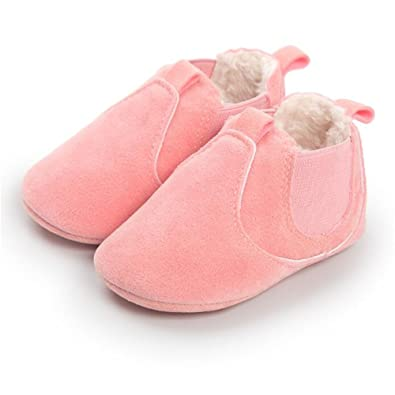 FuzzyGreen Pink Baby Ankle Boots, Premium Soft Comfortable Cotton Infant Mocasin Shoes for Baby Boys