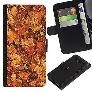 EuroTech - Samsung Galaxy S3 III I9300 - Fall Leaves Golden Brown Autumn Forest - Cuero PU Delgado caso Billetera cubierta Shell Armor Funda Case Cover Wallet Credit Card