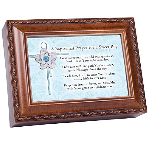 Cottage Garden Baptized In The Name Woodgrain Music Box/Jewelry Box Plays Jesus Loves Me by Cottage Garden