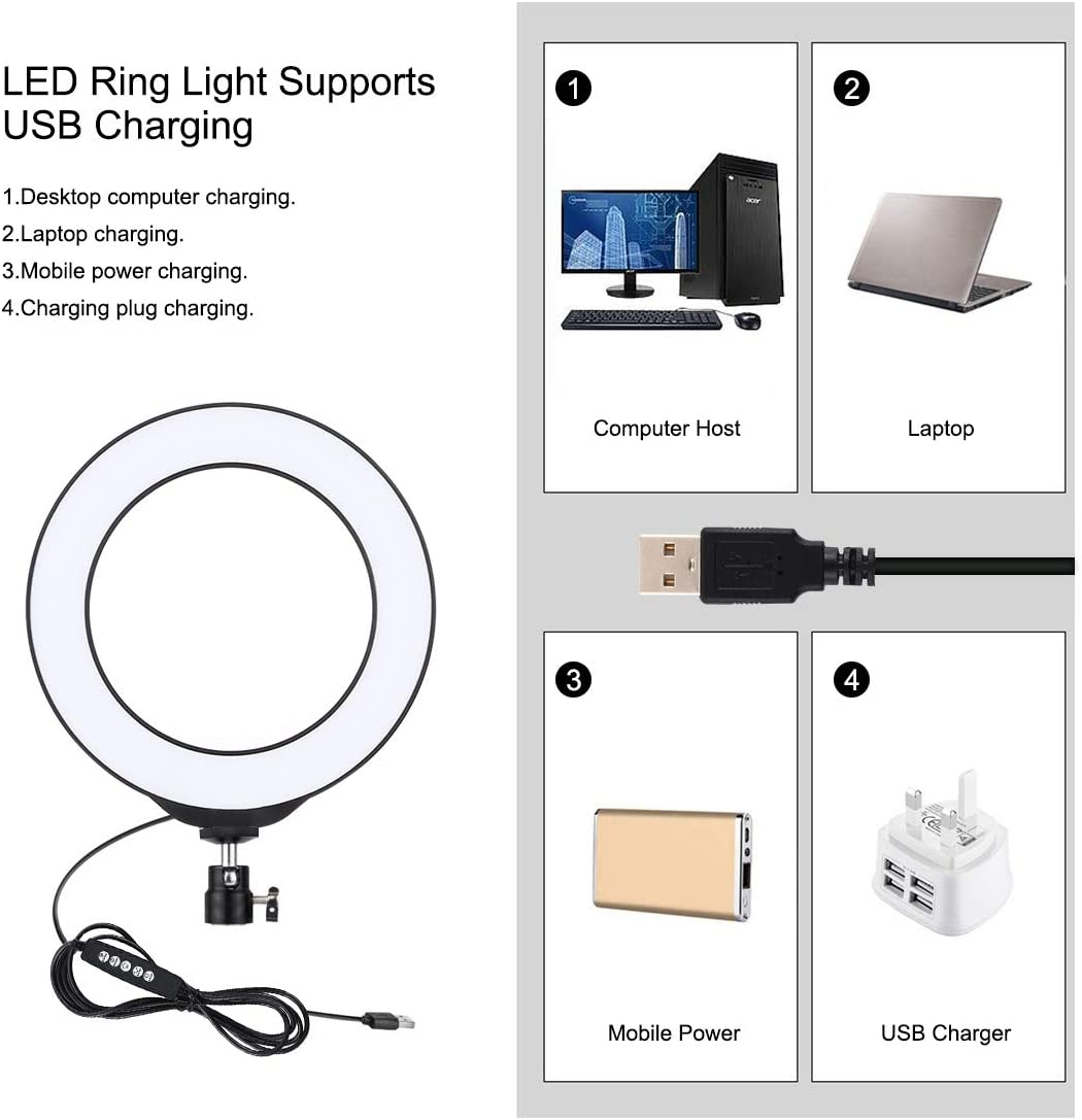 PULUZ Ring Light 10 Brightness Levels Makeup 8 Colour 6.2 inch RGBW Dimmable LED Ring Light kit with Desktop Tripod Mount and Cold Shoe Tripod Ball Head/ for Selfie YouTube Video