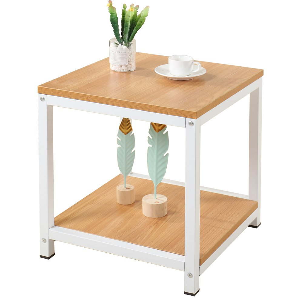 SogesHome End Tables 15.7'' Coffee Table Modern Style Coffee Table Console Table 2 Tiers,Teak TVST-40-TK-SH