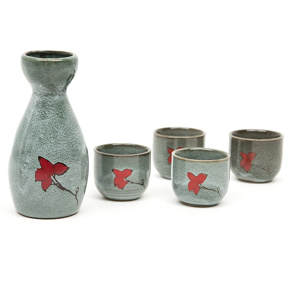 170ML Hand Painted Pottery Wine Cup Japanese Sake Set with Four Cups Foggy Style Ltd