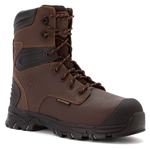 """Justin Men's Work Tek 8"""" Waterproof Insulated Lace-Up Boot Composition Toe - Wk109"""