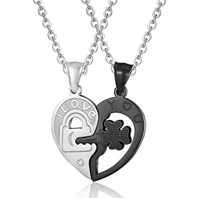 e6ff952b6 Amazon.com: Godyce Couples Necklace Sets Key To My Heart boyfriend and  girlfriend Stainless Steel Pendant Jewelry: Jewelry