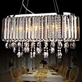 Jiuzhuo Oval 8-Light Crystal Chandelier Pendant Lighting Hanging Ceiling Fixture (Clear Crystal) Review