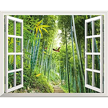 ZLJTYN 100X120Cm Stickers Living Room Bedroom 3D Stereo Scenery Fake  Windows Corridors Background Wall Stickers Toilets