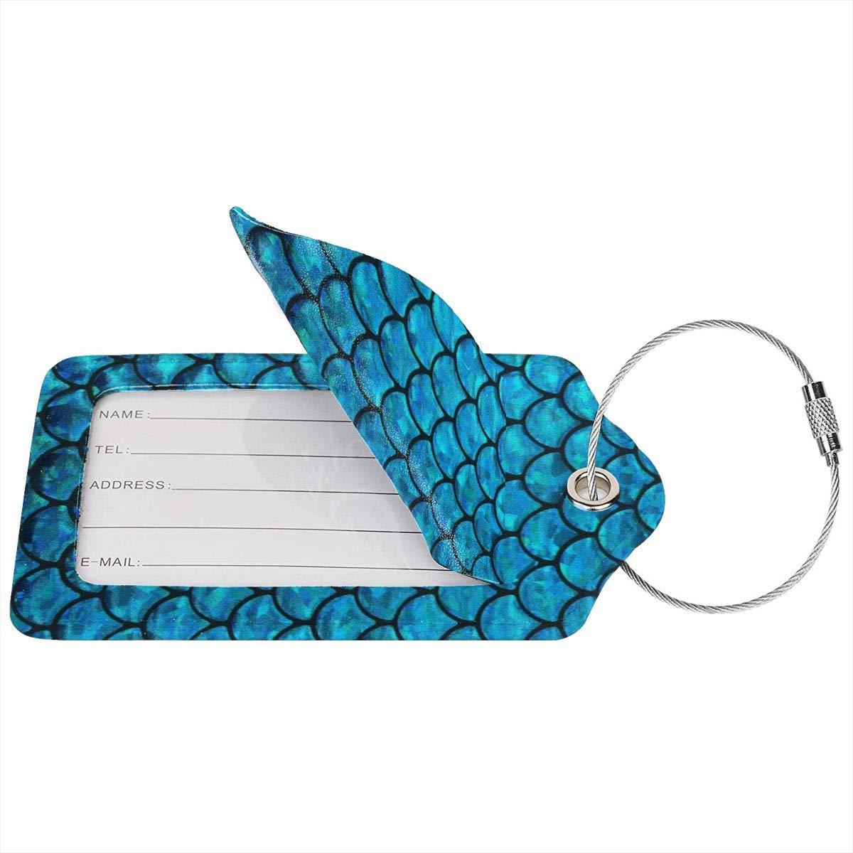 Mermaid Blue Fish Scales Printing Luggage Tag Label Travel Bag Label With Privacy Cover Luggage Tag Leather Personalized Suitcase Tag Travel Accessories