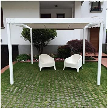 QEEQ.IT - Pérgola de Aluminio, 4 x 3 cm, Color Blanco: Amazon.es ...