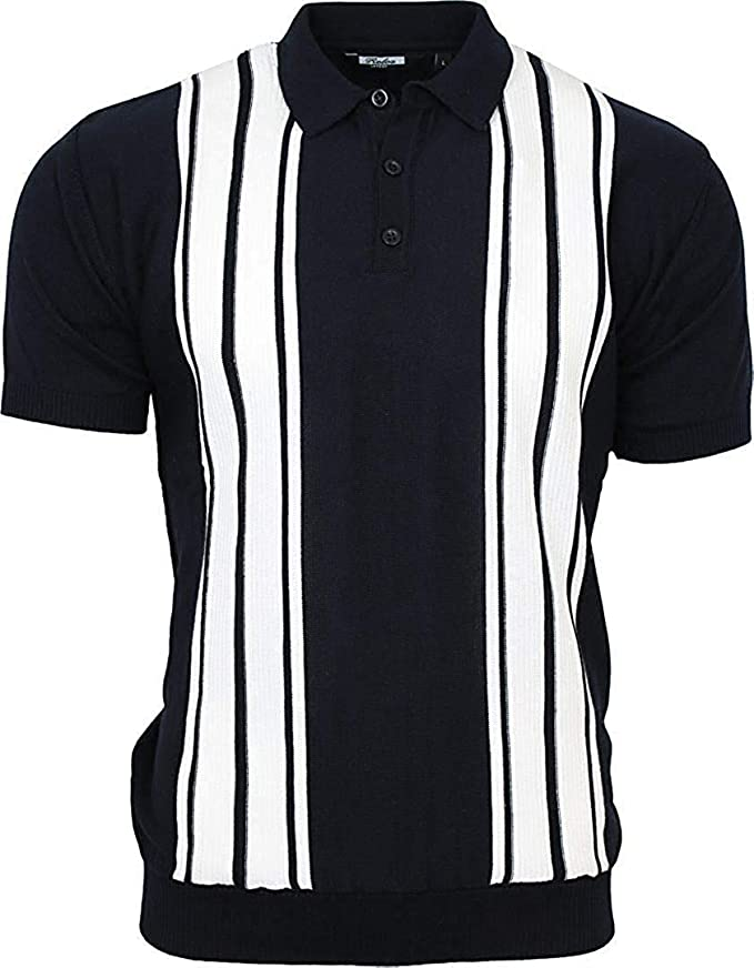 60s 70s Men's Clothing UK | Shirts, Trousers, Shoes Relco Mens Striped Fine Gauge Knit Mod Polo Shirt £34.99 AT vintagedancer.com